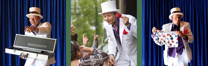 Goochelaar kinderen tijdens goochelshow