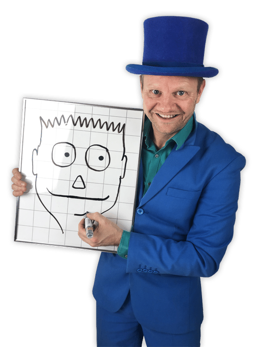 Pieter drawingboard kindervoorstelling